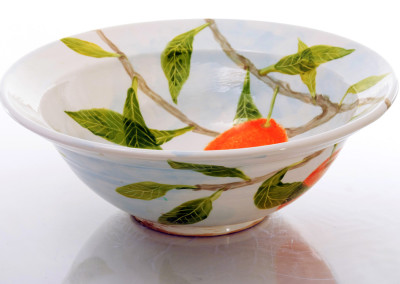 Large Bowl with lip - Orange