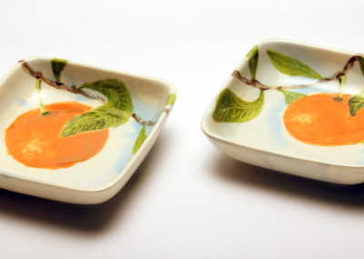 Small Square Dishes - Orange