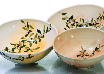 rimless large bowls olive motif