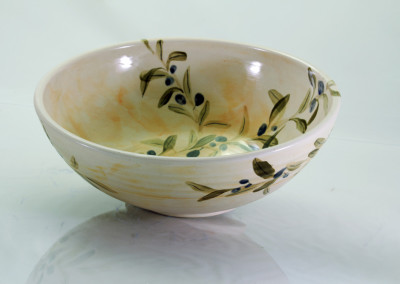 large olive bowl without rim